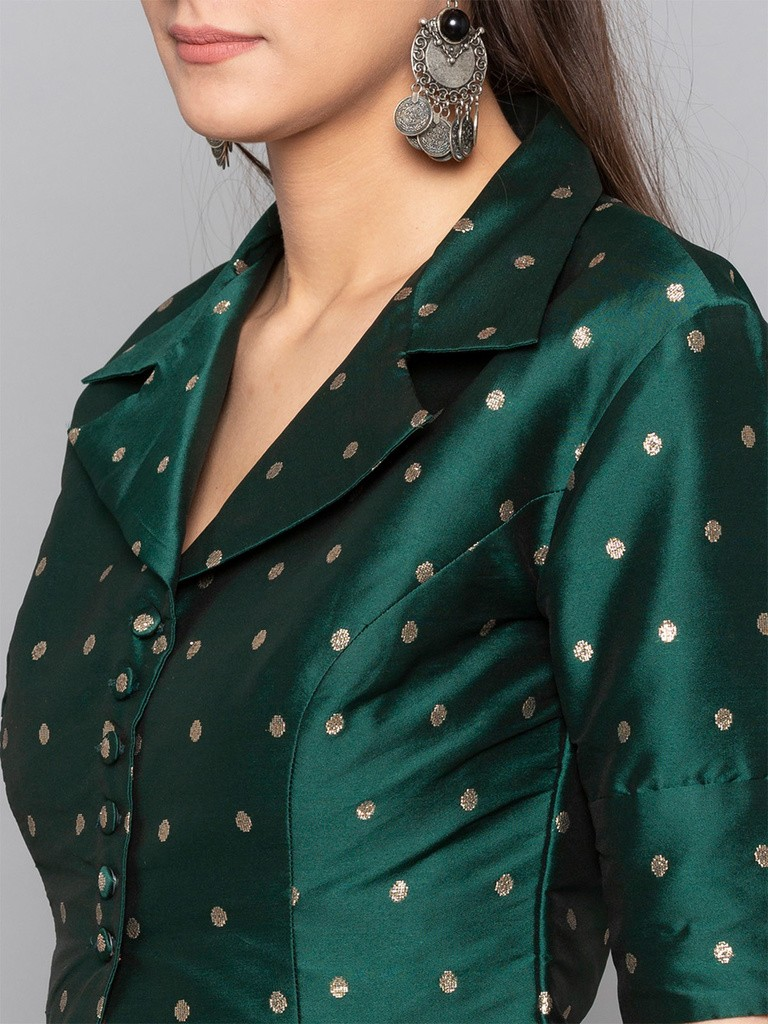 Green Polka Buttoned Square Neck Blouse