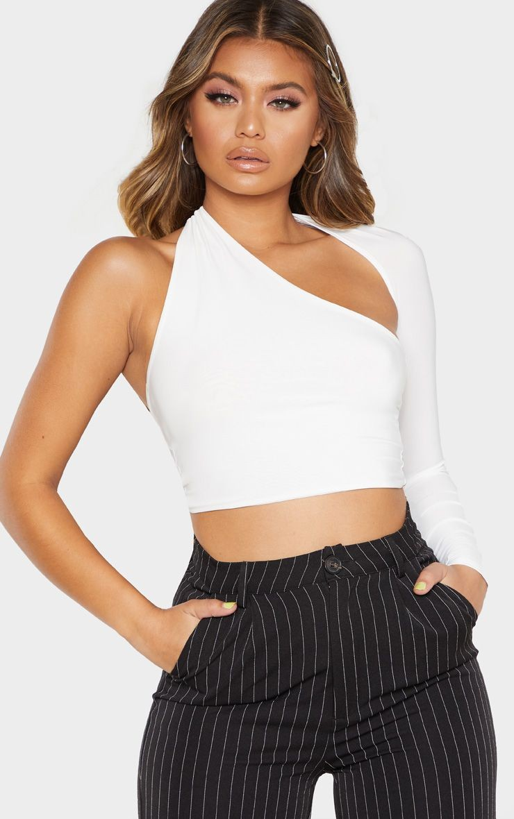 White Belted Halter Wrap Top