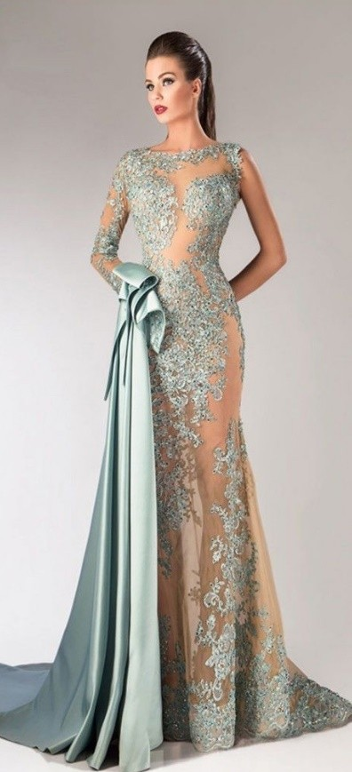 embroidered net fit & flare gown