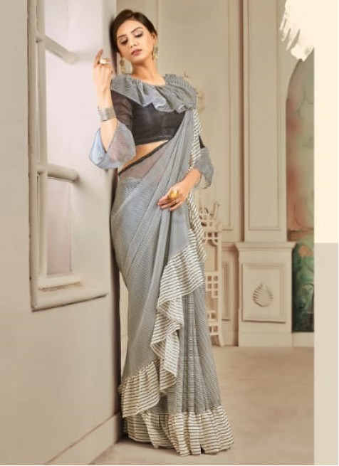grey-colour-party-wear-trendy saree