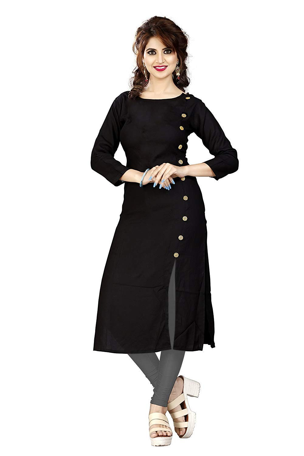 printed black straight kurta