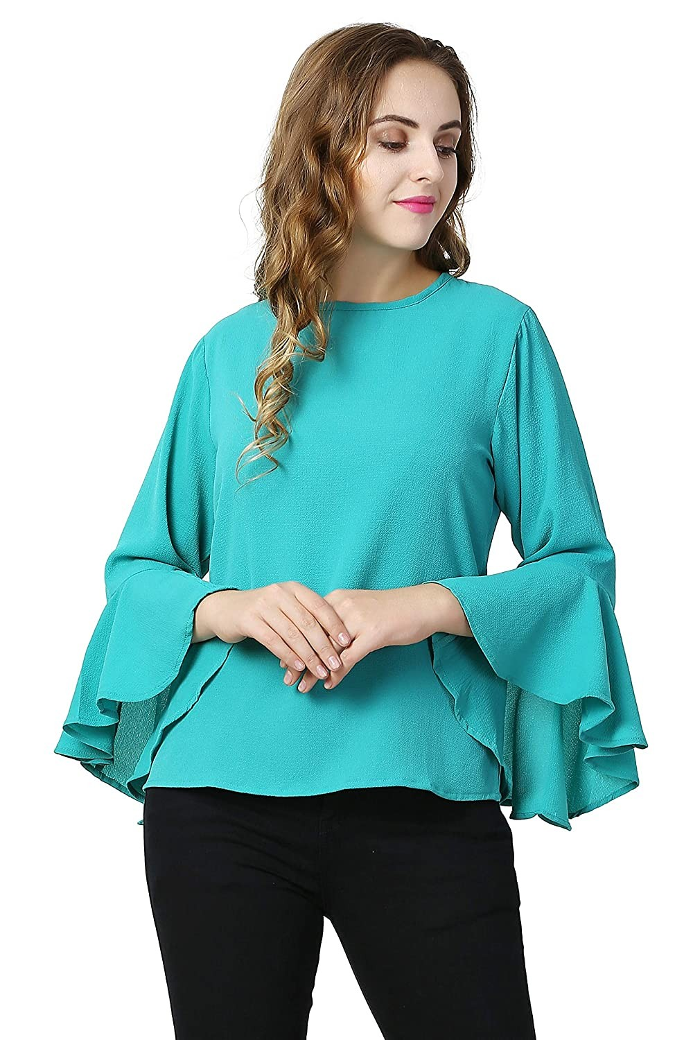 sea green Embellished Drop Shoulder Top